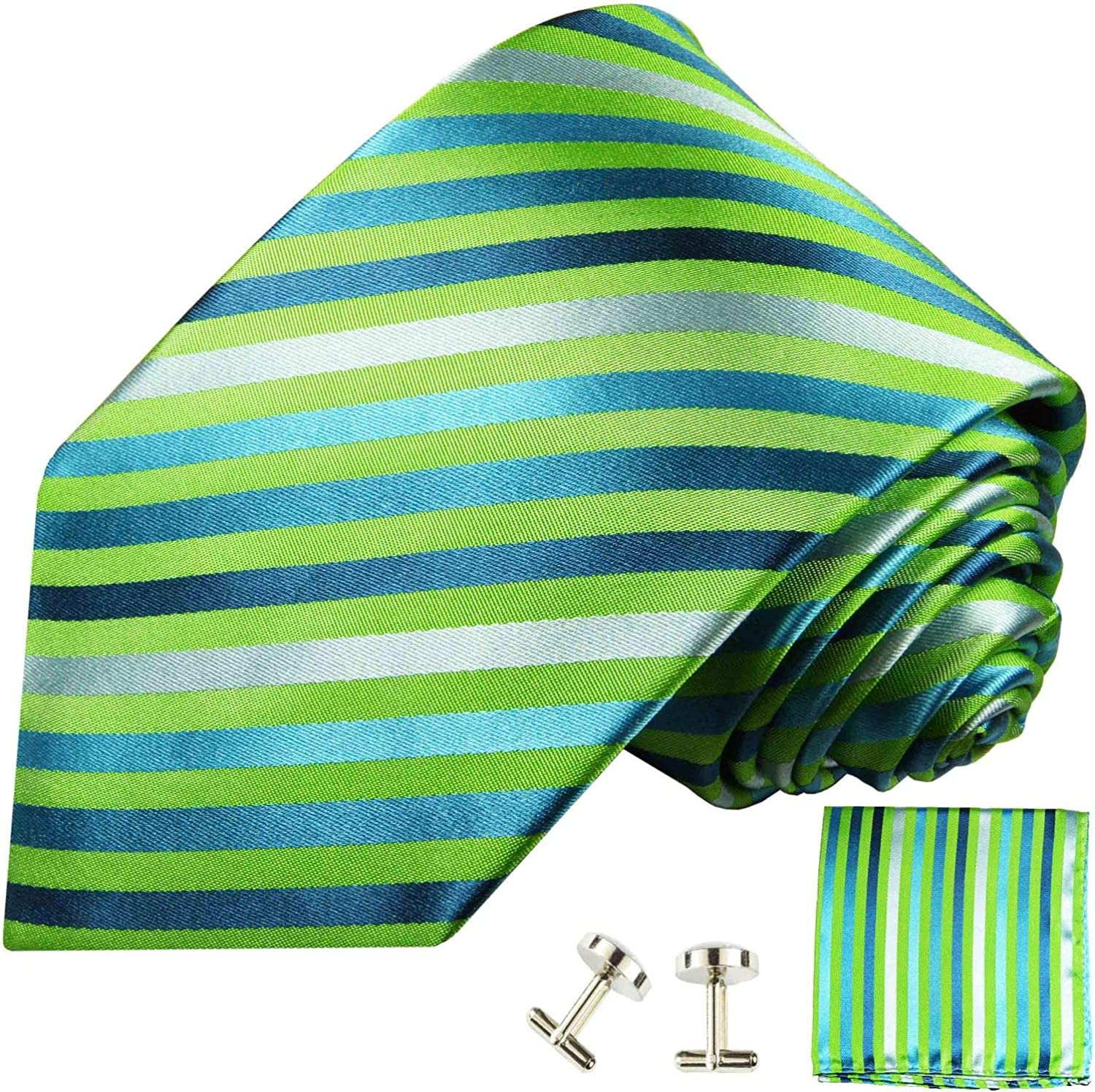 Green Striped Silk Tie, Pocket Square and Cufflinks by Paul Malone