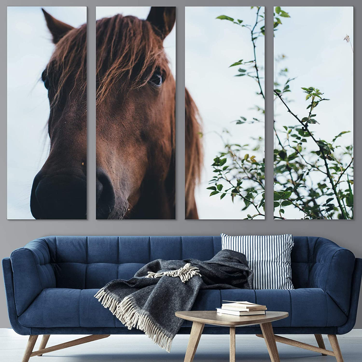 Color-Banner 4 Pieces Modern Canvas Art into Excellence Looking Horse Wall Super Special SALE held