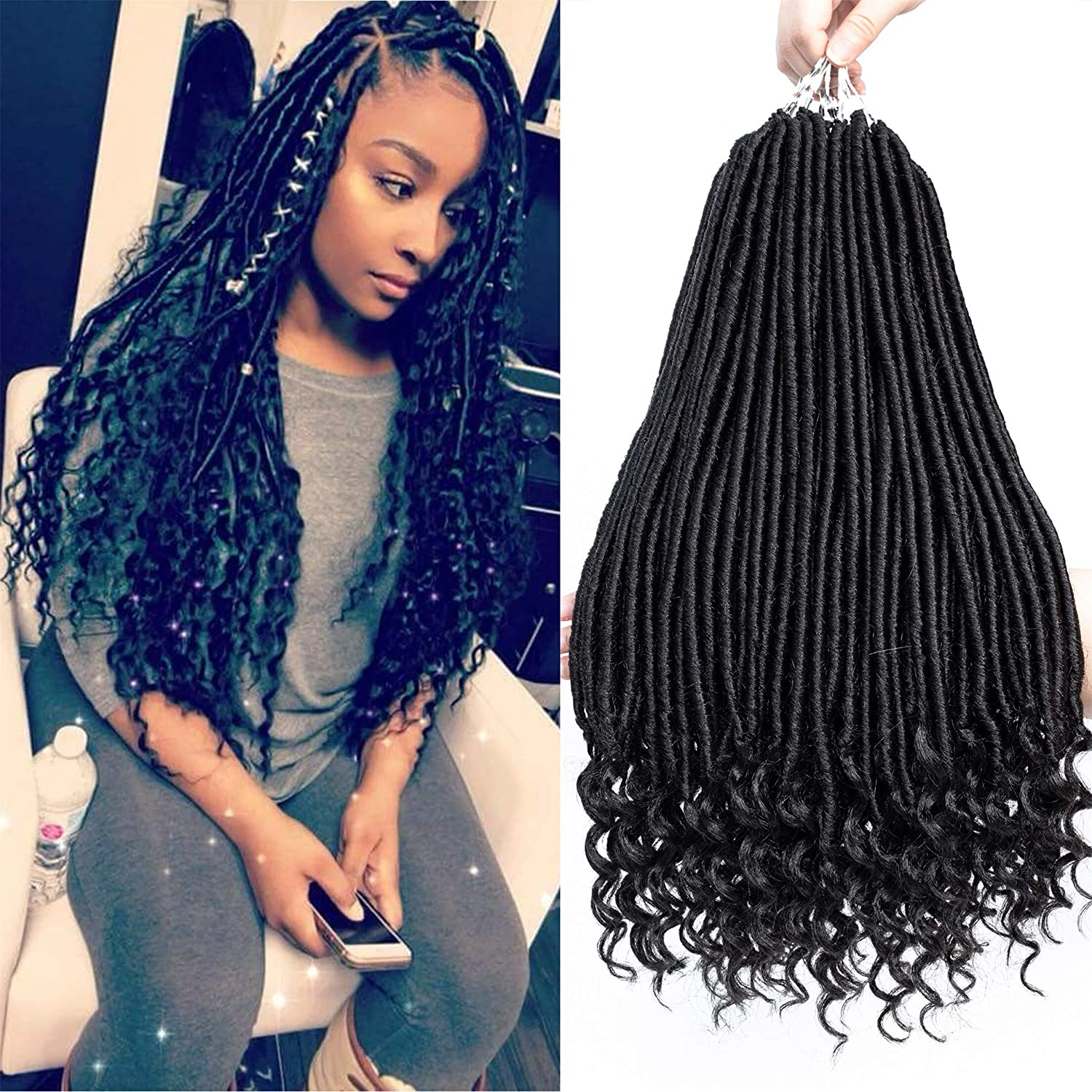 6 Packs Cheap mail order shopping 18inch Straight Goddess Locs Atlanta Mall With Faux C Ends Curly