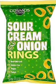 Cosmos Creations Premium Puffed Corn - Sour Cream and Onion Rings - Gluten Free Non-GMO 3.5 oz …