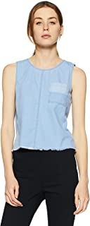 Flying Machine Women's Floral Regular Fit Vest Top (FWTO1052_Light Indigo_XS SL)