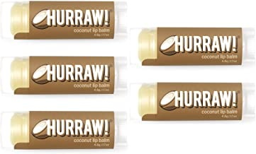 product image for Hurraw! Coconut Lip Balm, 5 Pack: Organic, Certified Vegan, Cruelty and Gluten Free. Non-GMO, 100% Natural Ingredients. Bee, Shea, Soy and Palm Free. Made in USA