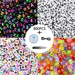 800 Pcs 4 Color Acrylic Alphabet Letter Beads A-Z Cube Beads with 1 Thread Cutter 1 Black Cord and 1 Silk Thread for Jewelry Making Kids DIY Necklace Bracelet
