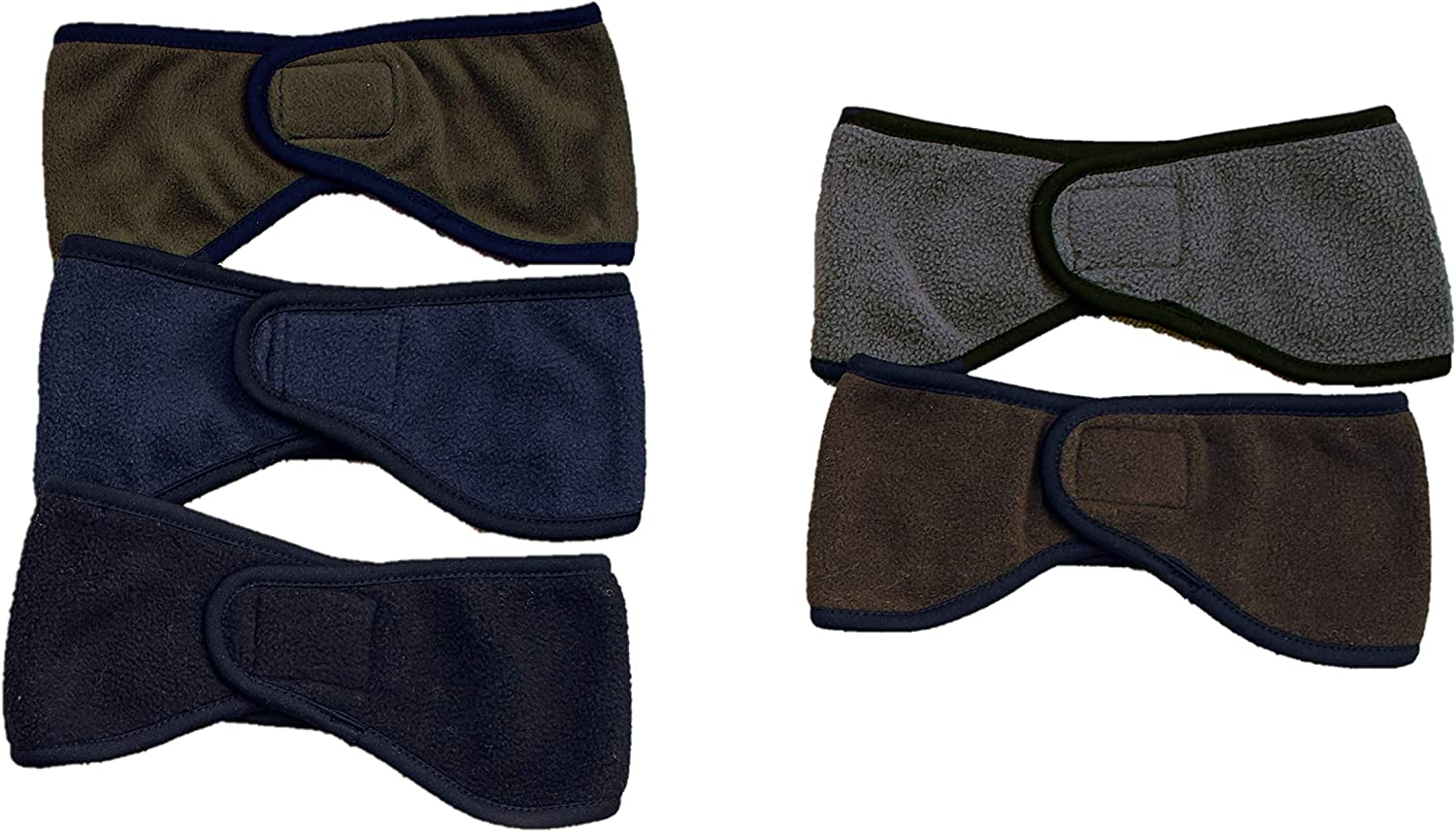 Men's Cold Weather Earbands - Headband-Style Earmuffs - Set of 5