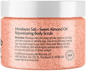 M3 Naturals Himalayan Salt Body Scrub Infused with Collagen and Stem Cell - Natural Exfoliating Salt Scrub for Acne, ...