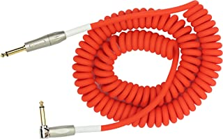 """KIRLIN Cable Kirlin IMK-202PFGL-30/RDF-Straight to Right Angle ¼"""" Premium Coil Instrument Cable, PVC Jacket-30ft, Red Translucent (IMK-202PFGL-30/RDF)"""