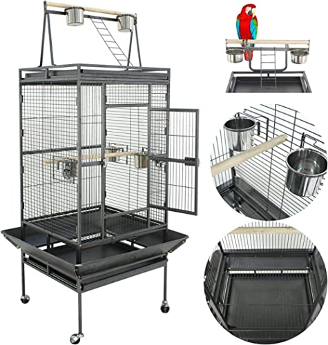 Nova Microdermabrasion 61/68 Inches Large Bird Cage Play Top Parrot Cockatiel Parakeet Chinchilla Macaw Cockatoo Cage...