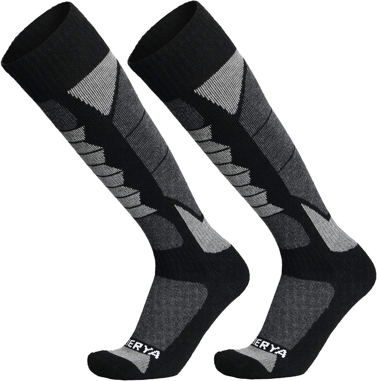 WEIERYA Ski Socks 2-Pack Merino Wool, Anti-Pilling Wool Skiing Socks, Suitable For Men & Women