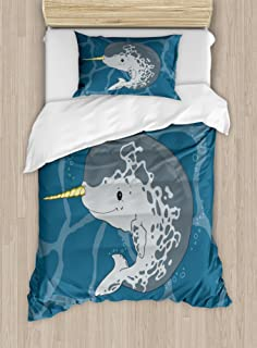 Ambesonne Narwhal Duvet Cover Set, Happy Arctic Ocean Whale with Horn Swimming in The Sea Cartoon Style Animal Drawing, Decorative 2 Piece Bedding Set with 1 Pillow Sham, Twin Size, Grey Blue