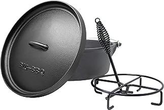 ToCis Big BBQ Dutch Oven 6.0 Gusseisen eingebrannt 12er Kochtopf mit Deckelheber Deckelständer mit Füße