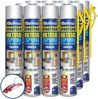 comprar comparacion QUILOSA - Pack 12 espuma de poliuretano Quilosa Orbafoam O2-M1 con Cánula 750ml (Llavero Abrebotellas Bricolemar de Regalo!)