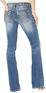 Miss Me Feather Headdress Bootcut Jeans in Dark Blue