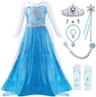 Padete Little Girl Princess Dress Snow Party Queen Halloween Costume Blue with Accessories