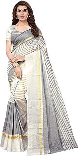 GoSriKi Women's Synthetic Saree With Blouse Piece