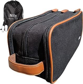 Mens Toiletry Travel Bag Set - Dopp Kit Includes Waterproof Laundry Shoe Bag & Reusable Bottles (Black)