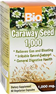 Bio Nutrition Caraway Seed - Relieves Gas and Bloating - 1000 mg - Gluten Free - 60 Vegetarian Capsules (Pack of 2)