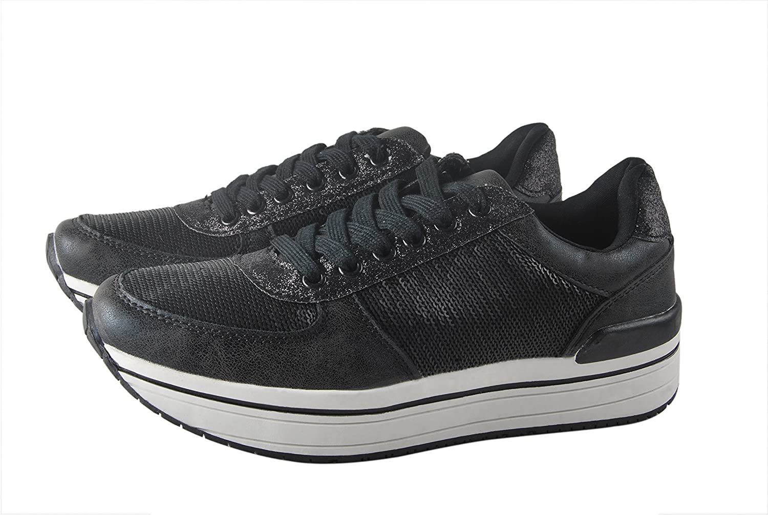 Lucky Step Women Fashion Sequin Casual shoes Lace up Platform Walking Sneakers for Women Black