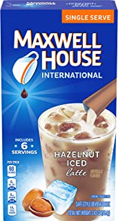 Maxwell House International Cafe Hazelnut Instant Iced Latte Single Serve (3.42 oz Boxes, Pack of 8)
