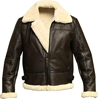 Men B3 Bomber Aviator Shearling Sheepskin Leather Winter Jacket