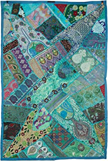 Tribe Azure Fair Trade Floral Embroidered Colorful Cotton Tapestry Wall Hanging Decor Art Home Boho Bohemian Hippie (Turquoise Blue)
