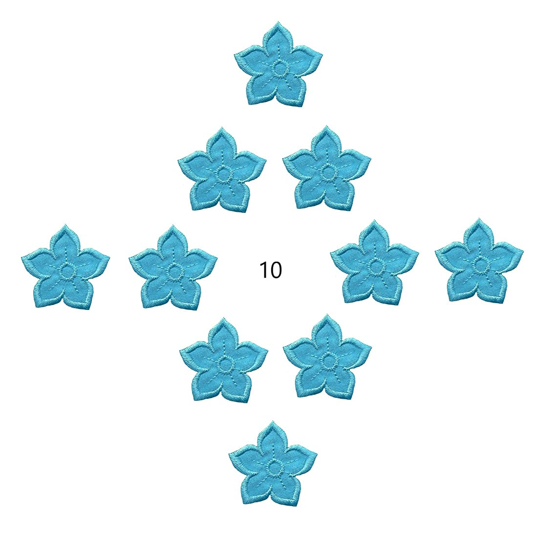 A-105, Turquoise Flower Iron On Patch 10 Pieces, Embroidered, Decorative Patches, Fashion Set-