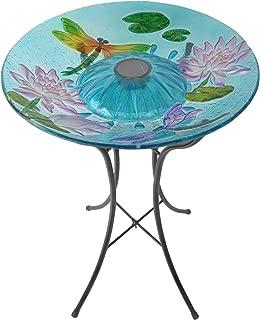 Peaktop 3208900 Outdoor Dragonfly Fusion Glass Solar Bird Bath w/Metal Stand, 18