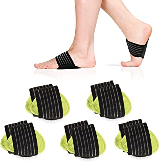 5 Pair Arch Support Brace Compression Cushioned Support Sleeves, Plantar Fasciitis Foot Pain Relief for Fallen Arches, Fla...