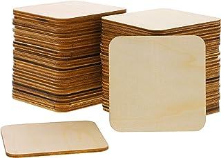 Bright Creations 60-Cuadrado del Paquete Madera inacabada Recorte Piezas para Manualidades, Bricolaje 3 Pulgadas