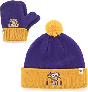 '47 Brand Infant/Toddler Bam Bam 2-Tone Beanie Hat POM and Glove Gift Combo - NCAA Baby Knit Cap/Mittens