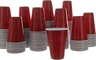 Impresserve Disposable Party Cups, 16 Ounce Red Plastic Drinking Cup for Cold Drinks, Sodas, Lemonades, Ciders, Beers, Cocktails, More, 100 Piece