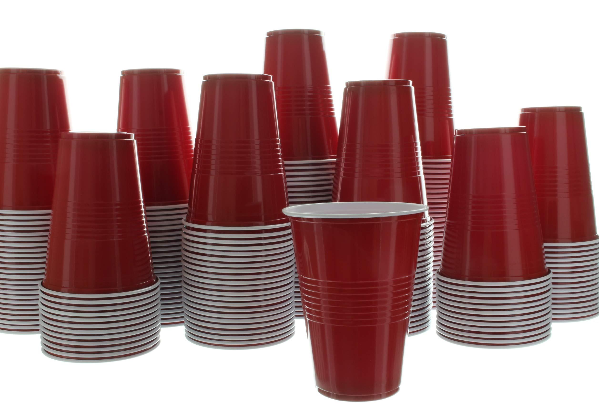 Impresserve vasos desechables para fiestas, 16 onzas de plástico rojo para bebidas frías, sodas, limonadas, sidras, cervezas, cócteles, más, 100 unidades: Amazon.es: Hogar