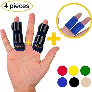 BodyMoves 2 Finger splint plus sleeves Trigger Finger Mallet Finger Broken Finger Post Operative finger brace stabilizer tenosynovitis(aqua blue)