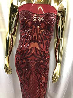 Beauiful 4 Way Stretch Lace Embroidery Sequins Fabrics - Burgundy - Lace Mesh Sequins Fabrics Sold by The Yard