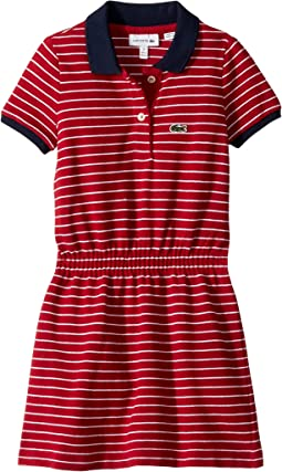 Short Sleeve Striped Pique Dress (Toddler/Little Kids/Big Kids)