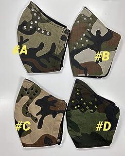 Mascherina Unisex Lavabile 100% cotone mimetico militare strass
