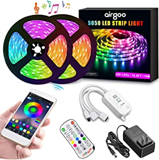 Airgoo RGB LED Strip Lights, Waterproof 32.8ft RGB LED Light Strip 5050 LED Flexible Tape Lights, Music Sync Color Changing Work with APP and Remote for Home Lighting Kitchen Bed Bar Home Decoration