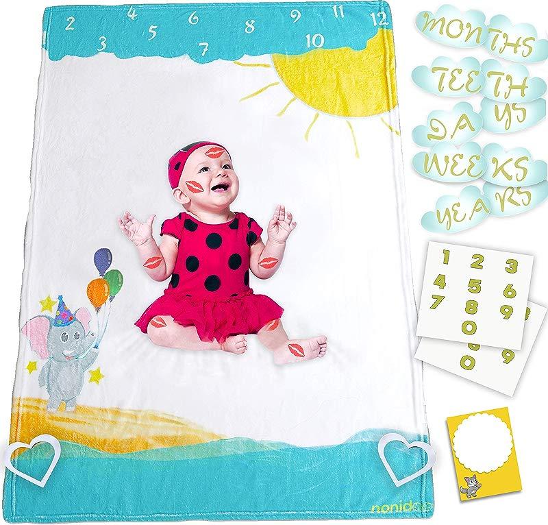 Nonidoo Baby Milestone Blanket For Girls Boys Milestone Blanket Super Soft Fluffy Fleece Large Toddler Blanket Baby Shower Baby Registry Gift