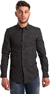 Antony Morato Men's Long-Sleeved Shirt MMSL00428-FA430302 Slim 54 (XXL) Black