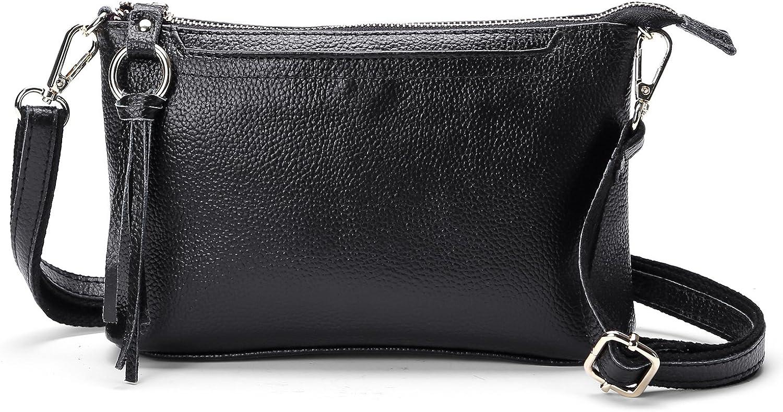 DOURR Women's Small Genuine Leather Cross Body Shoulder Bag Clutch Purse