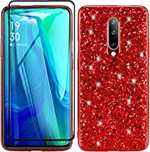 AMASELL-A Shockpoof Case for OnePlus 7 Pro,Luxury Bling Glitter Ultra Thin Soft TPU Sparkle Cute Slim-Fit Protective Case & Tempered Glass Screen Protector Compatible with OnePlus 7 Pro,Red