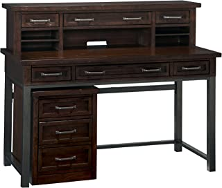 Home Styles Cabin Creek Chestnut Desk, Hutch and Mobile File with Two Outer Drawers, Drop-down Keyboard Tray, Pigeon-holed Storage, Three Upper Drawers