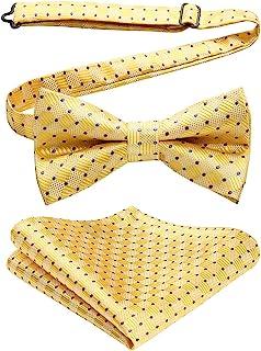 2ed615b44db3a ENLISION Men's Pre-tied Bow Tie Wedding Party Check Stripe Paisley Bowtie  Handkerchief & Pocket