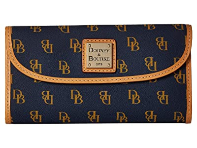 Dooney & Bourke Blakely Continental Clutch (Navy/White/Btrsctch Trim) Clutch Handbags