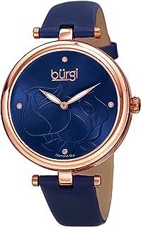 Burgi Women's BUR151BU Rose Gold Quartz Watch With Blue Diamond Dial And Blue Leather Strap