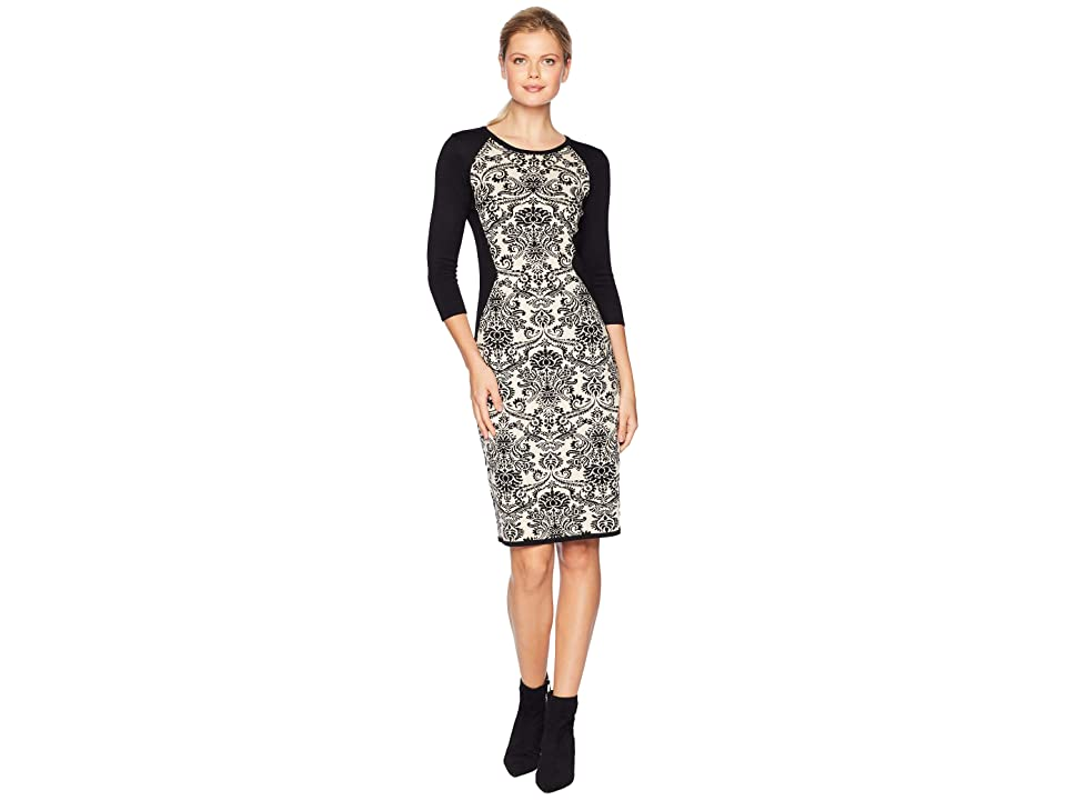 Gabby Skye Fitted Sweater Dress (Black/Sand) Women