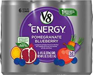 V8 +Energy Healthy Energy Drink, Natural Energy from Tea, Pomegranate Blueberry, 8 Oz Can (4 Packs of 6, Total of 24)
