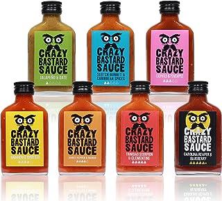 Crazy Bastard Sauce - Alle 7 bundle mild bis extreme scharfe Chilisauce 7 x 100mL Flasche