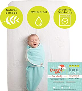 Bamboo Baby Crib Mattress Protector – Waterproof Fitted Toddler Mattress Cover for Standard Bed (28x52 in) - Padded Absorbent Liner- Stain Protector Infant Bed Pad - Perfect Baby Gift Registry!