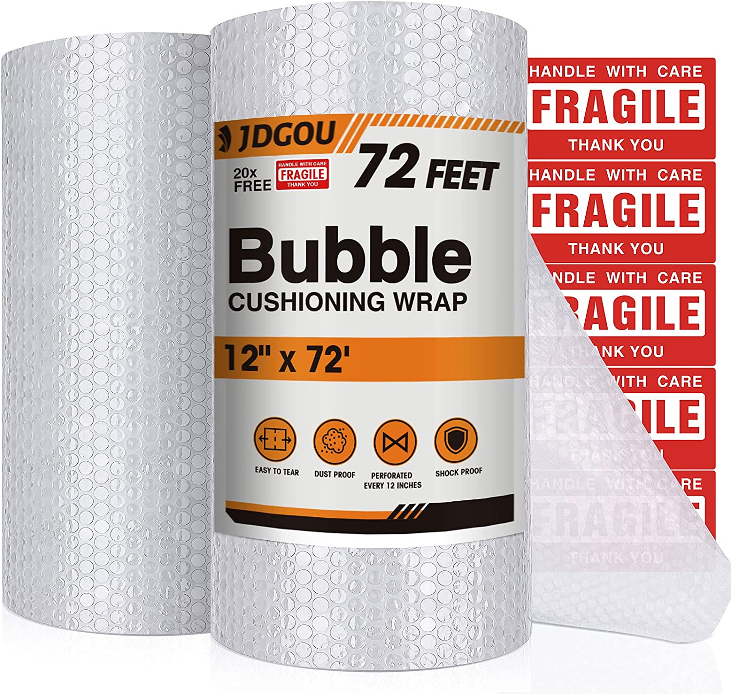 """JDGOU Bubble Cushion Wrap For Packing 12""""x72 FEET Bubble Cushion Wrap Full 3/16"""" Air Bubble Large Bubble Cushion Wrap Moving,Perforated Every 12"""",Clear Packing Supplies For Moving : Office Products"""