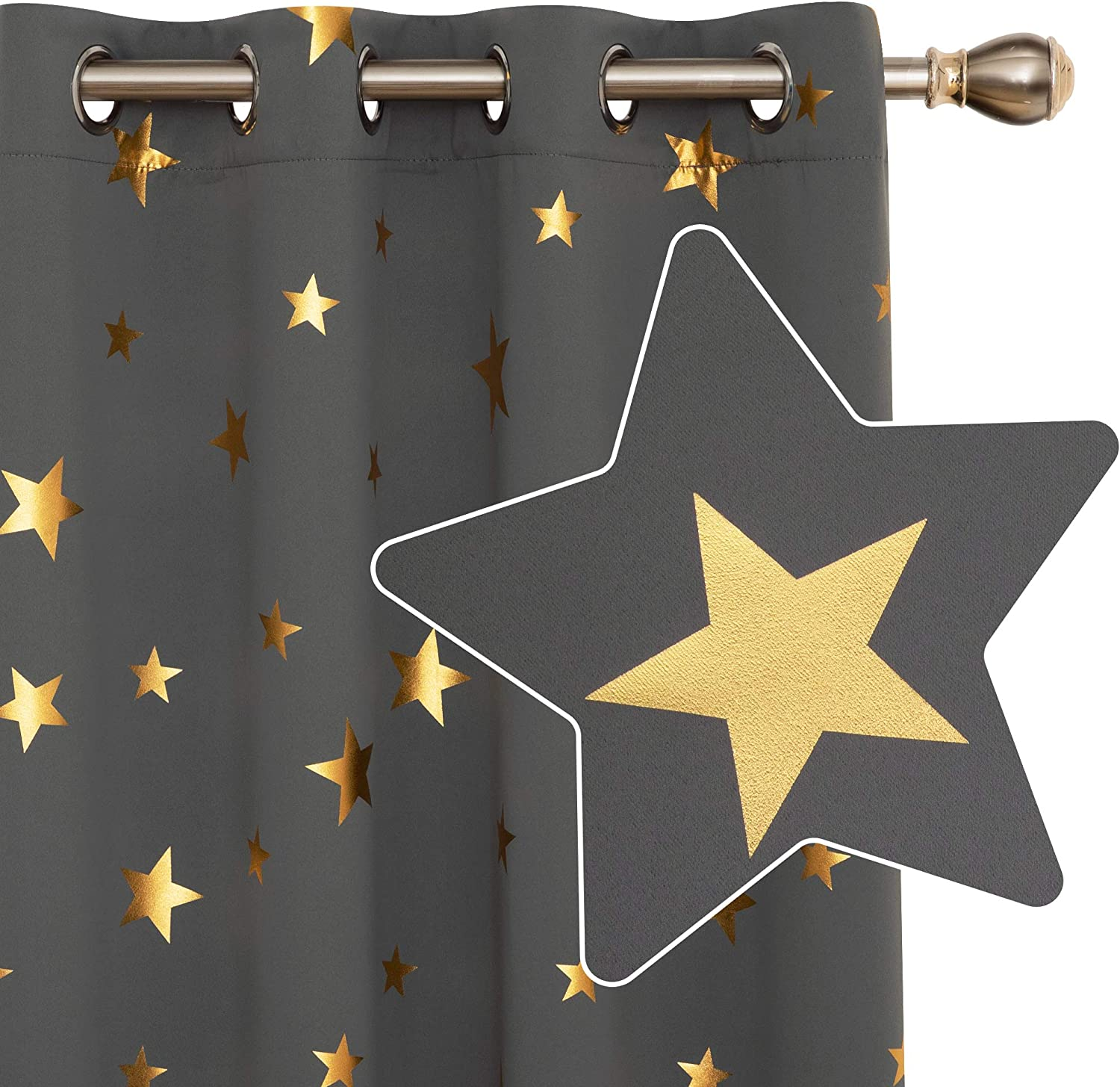 Deconovo Light Grey Curtains for Bedroom, Thermal Insulated Gold Star Foil Printed, Eyelet Blackout Curtains for Living Room, 46 x 54 Inch(Width x Length), 2 Panels W46 x L54 Light Grey